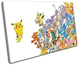 Bold Bloc Design - Pokemon Pikachu GO Anime For Kids Room 60x40cm SINGLE Canvas Art Print Box Framed Picture Wall Hanging - Hand Made In The UK - Framed And Ready To Hang