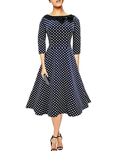 YiLianDa Donna Abito Vintage Mezza Manica Casual Pois a Pieghe Swing Vestiti Blu