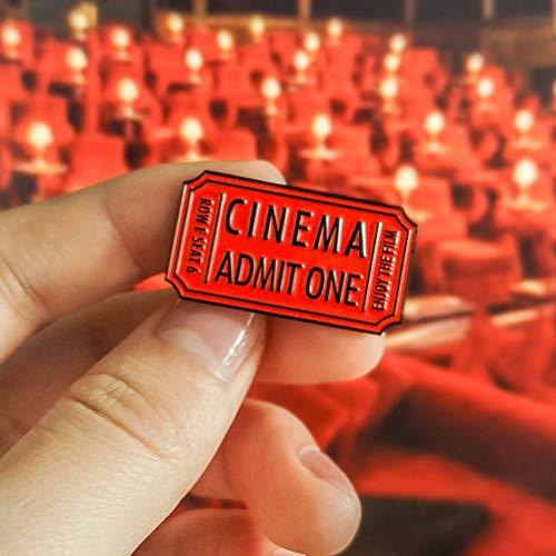 JTXZD Brosche Vintage Red Cinema zugeben, Man genießen den Film Movie Ticket verblasst Distressed Emaille Pins Abzeichen Broschen für Coole Frauen Männer s (Ticket Ein Zugeben,)