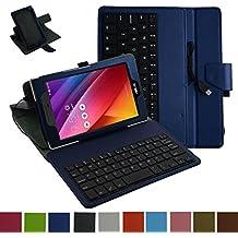 """Asus ZenPad Z170C micro USB teclado Funda,Mama Mouth micro USB teclado (teclado QWERTY formato inglés) Rotación PU Cuero Con Soporte Funda Caso Case para 7"""" Asus ZenPad C 7.0 Z170C Z170CG Z170MG Android Tablet,Azul oscuro"""