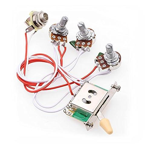 ROCKET Kabelbaum Prewired 1 Band 2 Tone Control 5 Wege Schalter 3-500K Töpfe für Strat Gitarre (Beige Tip) 4 Picks