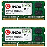 QUMOX 16 Go (2x 8 Go) 204 pin DDR3L-1600 SO-DIMM Mémoire (1600Mhz, PC3L-12800S, CL11, 1.35V, Basse Tension)
