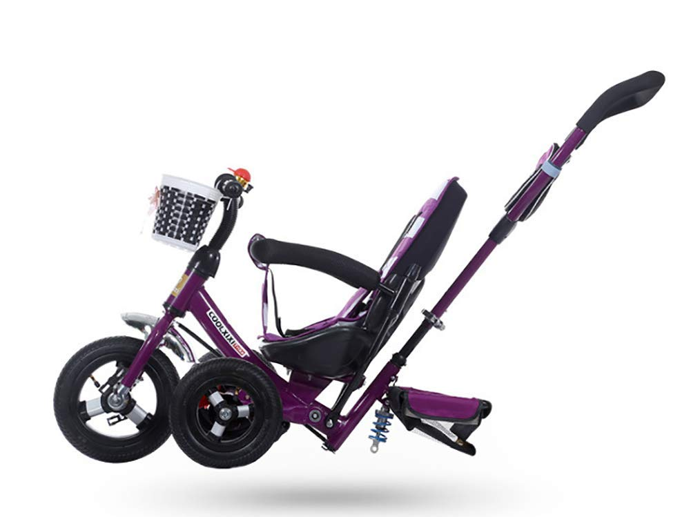 GHDE& 3-in-1 Childrens Tricycle Kids Trike for Children with Sun Canopy, Back Storage and Removable Parent Handle,B  3 IN 1 TRIKE: This is a growing with your child innovative kid trike, it follows with your baby's growing up and can be a baby bike, baby walker, or trike with parent pushing rod and canopy. Very Practical: Built with the sturdy aluminum alloy frame in superior strength, Non-slip handle with bell for best touch and added fun in riding, Anti-slip pedals make driving safer, foot brake, stop any time, back storage bin and front basket for storing child's essentials. Comfort for Kids: The large and retractable canopy provides ample shade, comfortable backrest and folding footrest to provide maximum comfort to your children. 5-point safety belts and safety fence ensure more safety for your baby. 3