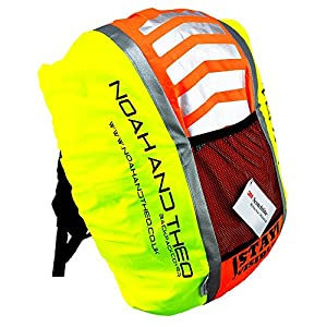 51OKln6JXoL. SS300  - Noah And Theo STAY VISIBLE Reflective High Viz Waterproof Cycling Backpack Rucksack Pannier Bag Rain Cover with 3M…