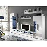 JUSTyou ROMO Wohnwand Anbauwand Schrankwand Farbe: Weiß Matt/Weiß Hochglanz