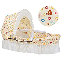FYABB Cuna Portátil Bebé con Cáscara De Maíz Natural, Bebé Cesta De Dormir con Almohada De Edredón Y Mosquitero, 0-8 Meses,Beige