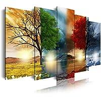 DekoArte 243 - Cuadro moderno en lienzo 5 piezas XXL paisaje de las cuatro estaciones del año, 200x3x100cm