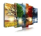 DEKOARTE modernes Wandbild 5-teilig mit Design Natur vier Jahreszeiten, Stoff, mehrfarbig, 200x 3x 100cm