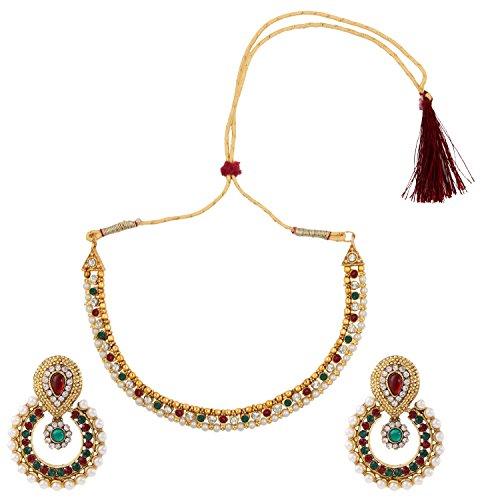 Kastanienbraune grüne Perlenpolki Ohrringe Halskette Schmuck indisch setbane0332MG