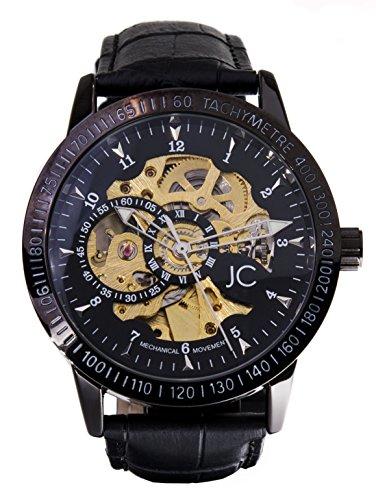 Jean Constantine Mechanische Automatik-Uhr, Stainless Steel, Echtes Lederarmband, Schwarz-Silber, Skelettuhr, Mechanik-Uhr