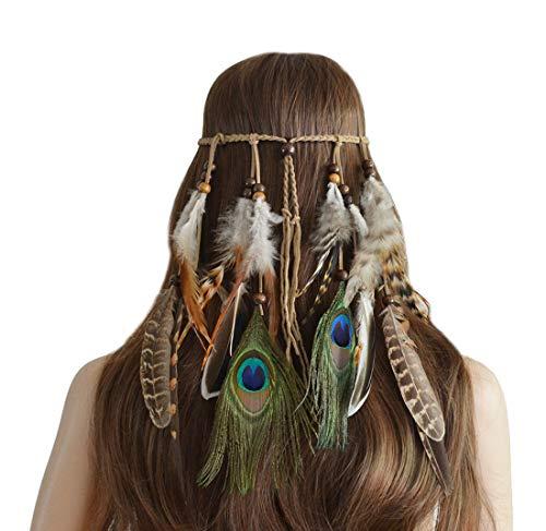 Pfau Feder Kopfschmuck Stirnband Flechten Haar Band Stirnband Zubehoer fuer Damen ()