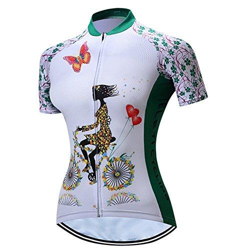 LBY LBYRadfahren Jersey Damen Kurzarm Jacke Top Radfahren Shirt Quick Dry Breathable Bike Clothing, White, S