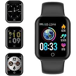 KUNGIX Smartwatch Orologio Fitness Trakcer Pressione Sanguigna Monitor Cardiofrequenzimetro da Polso Bluetooth Smart Watch Schermo a Colori Impermeabile IP68 per Donna Uomo (Nero)