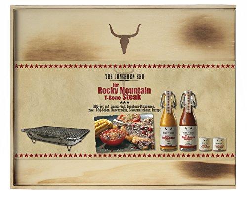 Feuer & Glas-The Longhorn BBQ Kit - Rocky Mountain T-Bone Steak, mit Brandeisen (400ml BBQ Saucen...