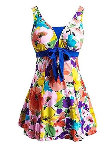 Ecupper Women's Plus Size One Piece Floral Swimwear Bathing Suit Swimsuit Swimdress Sapphire Blue Flower XL(UK