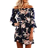 Kinikiss Women Summer Pullover Dress Dark Blue Flare Sleeve Slash Neck Off Shoulder Chiffon Sexy Elastic Waist A Line Casual Beach Party Dress Floral Print Mini Dress (L)