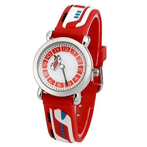 Kinderuhr Silikon Armband Uhr Wasserdichtes 3D lieblich Tiere Cartoon Digital Armbanduhr Zeit Lehrer Geschenk für Kinder kleine Mädchen Jungen (Rot U-Bahn) -