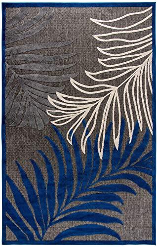 Moderner flachgewebter In- & Outdoor Carpetforyou Teppich Fern Leaves 3D Effekt Pflanzenmotiv schwarz grau blau creme in 4 Größen für Wohnzimmer Schlafzimmer und Terrasse (152 x 230 cm)