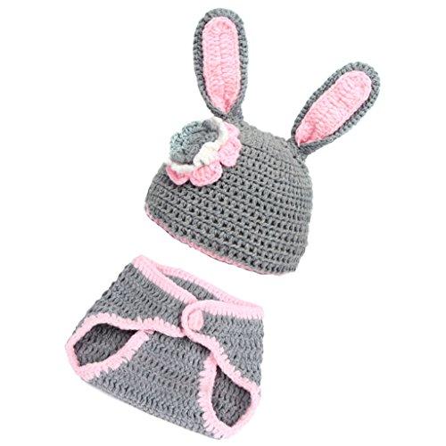 MagiDeal Baby Häkelkostüm Strick Kostüm Fotoshooting Baby Fotos Ostern Bunny Hase Grau (Bunny Outfit Für Baby)
