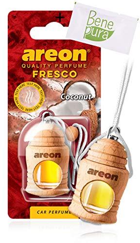 Areon, fresco, deodorante per auto da 4ml, profumo di cocco, diffusore da appendere e copertura in legno naturale, a lunga durat