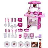 Vococal - Set de Juego de Cocina / Juguetes de Utensilios de Cocina con Luz y Sonido / Juguete Educativo de Aprendizaje para Hijos Niños Niñas bebés,Rosa