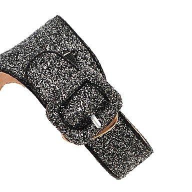 LvYuan Da donna Sandali Materiali personalizzati Estate Footing Fibbia A stiletto Nero Argento 7,5 - 9,5 cm Black