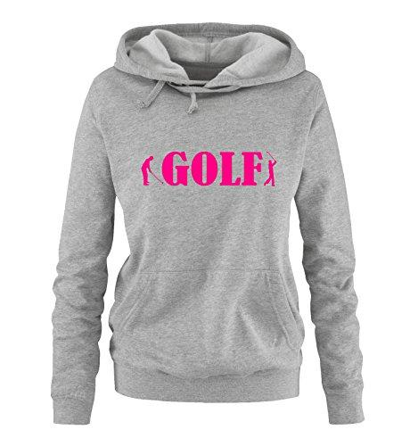 Comedy Shirts - Golf - Zwei Spieler - Damen Hoodie - Grau/Pink Gr. L -