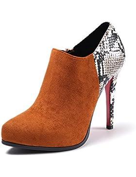 KPHY-La textura de la piel de color paste botas Otoño e Invierno El nuevo lado satinado Punta Delgada Botas High-Heeled...