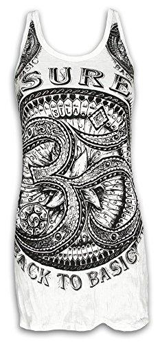 Sure Damen Träger-Kleid Om Aom Symbol Größe S M L Heiliges Buddhismus Hinduismus Yoga Zeichen (Weiss L)