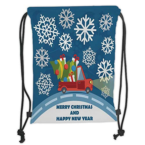 GONIESA Drawstring Sack Backpacks Bags,Christmas,Happy New Year Merry Christmas Truck with Gift Boxes Tree and Snowflakes Art,Blue Red White Soft Satin,5 Liter Capacity,Adjustable String Closur