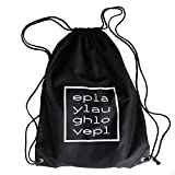 PLAYLAUGHLOVEREPEAT Quality Cotton Drawstring Gym Bag Black Monochrome Unisex