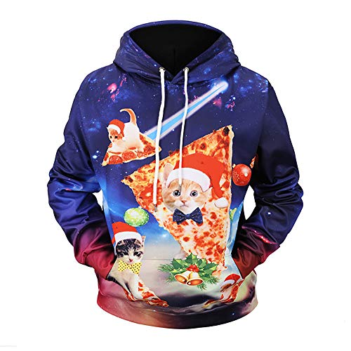 MallFun Unisex-Paare Hoodie Print Weihnachten Pocket Plus Size Cat Pizza Kapuzenpullover Pullover Top (Color : Multi-Colored, Size : M)