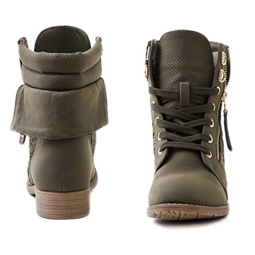 Marimo24 Damen #Trendboot Stiefel Stiefeletten Worker Boots mit Spitze in hochwertiger Lederoptik Übergrößen bis 43 Grün