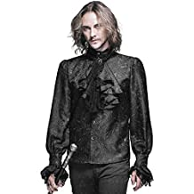 Devil Fashion Gótico Para Hombre Camisa Top Negro Steampunk Regency Aristocrat + Corbata