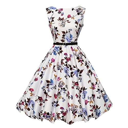 Summer Dress Petticoat, Manadlian® Women Vintage Floral Casual Sleeveless Evening Party Prom Bodycon Bubble Swing Dress