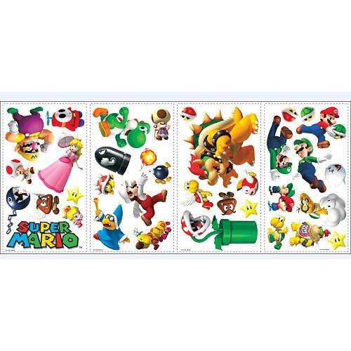 (Super Mario Bros. Wii Peel & Stick Wall Decals - 35 coole Wandsticker - aus USA)