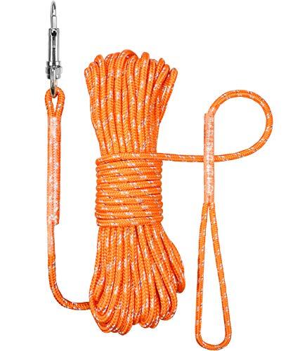 TagME Reflektierend Schleppleine für Kleine Hunde,Seil Hundeleine 15M,Orange