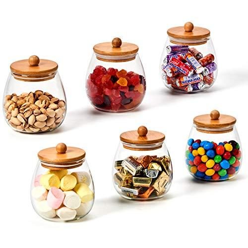 Ezoware set di 6 piccolo barattoli di vetro borosilicato, rotondo contenitori bottigliette con coperchio ermetico di legno bambù per conservazione di cucina, spezie, bagno, decorazione - 600ml