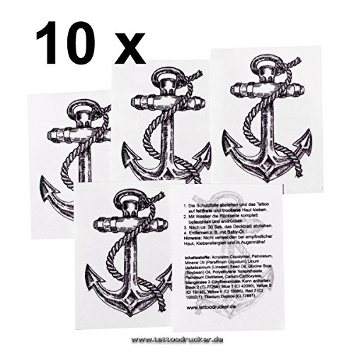 10 x Mini Anker Tattoos mit Seil - Anker Tattoo Set - Fasching Tattoo (10)
