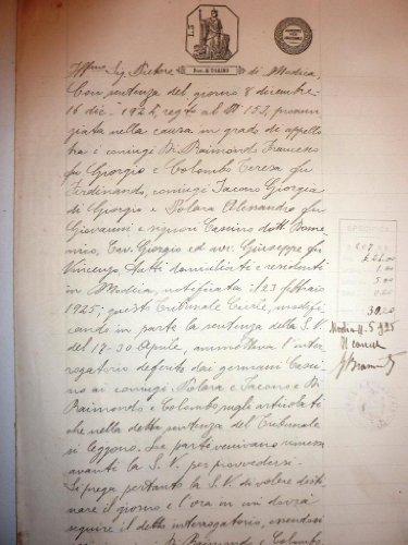 Causa Civile Pretura di Modica Anno 8 - 16 Dicembre 1924 - Signori Francesco Raimondo di Giorgio contro i Signori Iacone Giorgia e Palera Alessandro