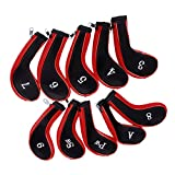 #8: Generic 10 Golf Clubs Iron Set Headcovers Head Cover (Red/Black)