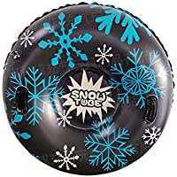 SYQ Tubo de Nieve, Suministros 47 Pulgadas Espesado Resistente al frío Inflable Trineo de la Nieve Anillo de esquí de esquí al Aire Libre con Asas para la diversión del Invierno,Negro