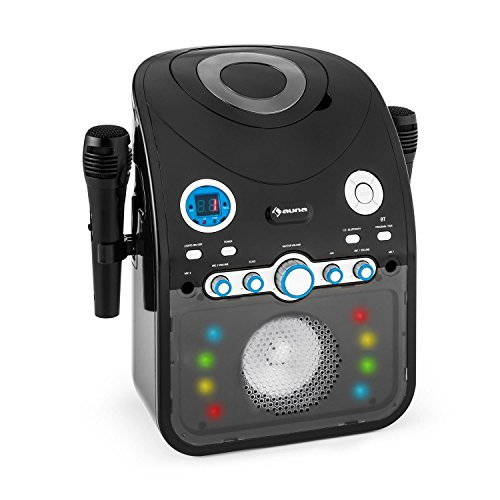 auna StarMaker Equipo de karaoke Bluetooth (2 x micrófonos dinámicos, reproductor de CD / CD+G subtítulos/ CD-RW… , monitor LED, Efectos de luz LED, altavoz banda ancha, salida RCA para video)