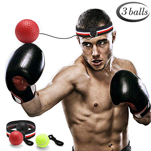 GEYUEYA Home Boxen Training Ball, Reflex Fightball, Punch Boxing Ball mit Kopfband,Reflex Speed Training Boxen- Praktische Ausbildung im Studio oder im Freien(Enthält schwarz, rot, gelb) - Boxen Kopf
