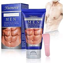 Men Hair Removal Cream, Depilatory Cream, Hair Removal for Men, Natural Painless Hair Removal Cream + Plastic Scraper, Used for Men's Underarm, Chest, Back, Legs and Arms, 60ml