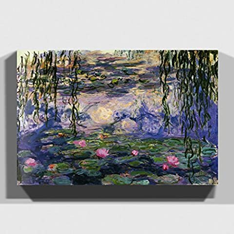 Canvas Print 30 x 20 Inch (76 x 50 cm) Claude Monet Water Lilies No.6 - Canvas Wall Art Picture Ready to Hang - FREE