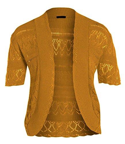 Nuovo da donna lungo le misure Plus maglia Bolero uncinetto Jumper Cardigan Tops 16-26 Mustard