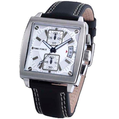 Orologio Time Force da uomo. Acciaio Cinturino in pelle cronometro/Calendario. Nero e Argento tf-3150m02