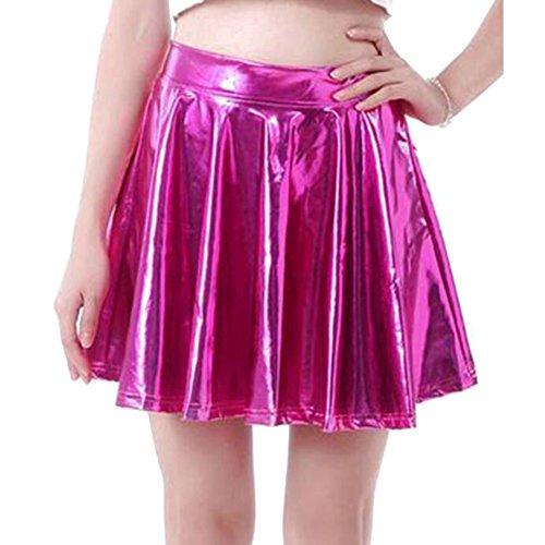 Hibote Sexy Frauen Shiny Liquid Metallic Wet Look Ausgestellte Falten Skater Rock Rose S