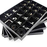 24 Grids Black Jewelry Display Tray Rings Plate Ring Holder Earring Necklace Case Diamond Showcase Stone Organizer